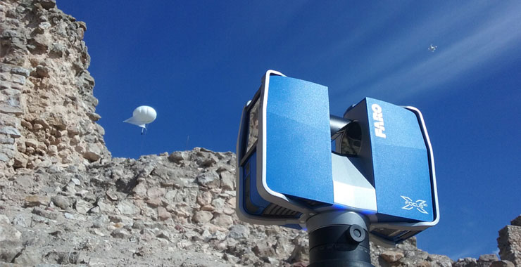 A photographic ballon, drone, and terrestrial laser scanner outside of Castilla la Vieja, Castilla la Mancha, Spain